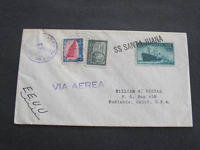 Ship SS Santa Juana Shipping Cover US Stamp then Guatemala Stamps added Postmark