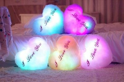 """""""I Love You"""" Valentine's Gift LED Light Up Glow Pillow Soft Relax Cushion New"""
