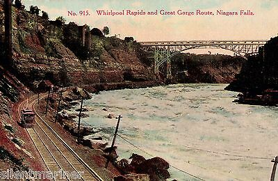 Whirlpool Rapids and Great Gorge Route, Niagara Falls, old coloured postcard
