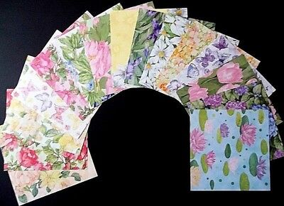 "WATER COLOUR FLORALS ~ Beautiful Scrapbooking Papers x 15 - 15cm x15cm- (6""x 6"")"