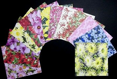 "*WILD FLOWERS*  Beautiful Scrapbooking Papers x 13 - 15cm x15cm - (6""x 6"")"