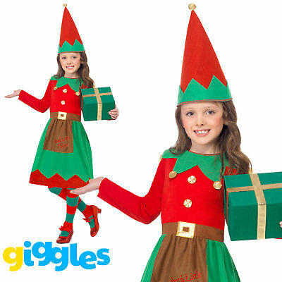 Girls Elf Costume Santa's Little Helper Christmas Xmas Fancy Dress Outfit Party