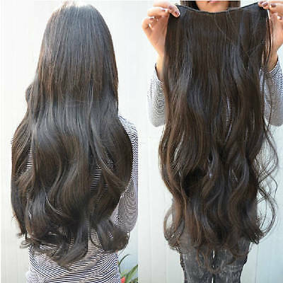 clip in hair extension curl/curly/wavy/long head brown dark ponytail natural