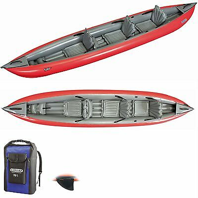 Gumotex Solar 410 Convertable Inflatable Kayak + Dry Bag, 3rd Seat + Fin - Red