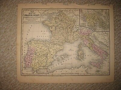 Antique 1852 France Spain Portugal Italy Greece Handcolored Map Wine Interest Nr