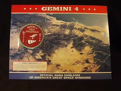 Official Nasa Emblem Of America's Great Space Missions: Gemini4 First Spacewalk