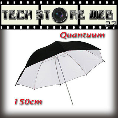 QUANTUUM  UMBRELLA WHITE RIFLETTENTE 150cm PER FLASH DA STUDIO SALA POSA FOTO