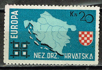 Croatia Country Map Arm stamp 1945 MLH
