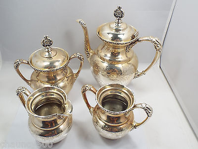 Antique American Silverplate Co. Aesthetic 4pc Coffee Set Quadruple Plate Floral