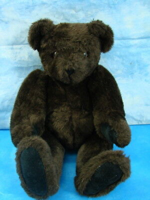 """Authentic Vermont Chocolate Teddy Bear Velvet Brown Paws Fully Jointed 15"""""""