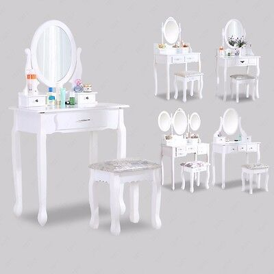 White Dressing Table Makeup Desk with Stool Drawers and Oval Mirror Bedroom