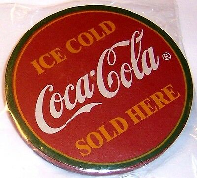 "New Deluxe Coke Wood Wooden Magnet Approx 3 1/4"" Diameter Coca Cola Sold Here"