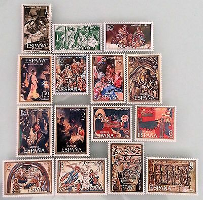 Spain 1964 to 1973 Christmas Mint MNH Stamps Sets Lot Collection