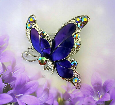 Purple Butterfly Brooch Pin~Mothers Day Birthday Gift For Her Girlfriend Mom