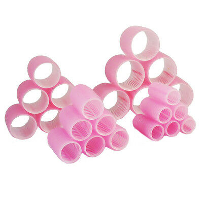 24 x Plastic Hair Rollers Curlers Pink Small Medium Large Jumbo 20mm-55mm