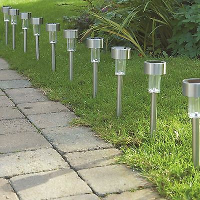 20 x Solar Powered Stainless Steel Led Post Lights Garden Lighting New