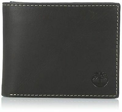 Timberland Hunter Passcase Black Genuine Leather Credit Card Bifold Mens Wallet