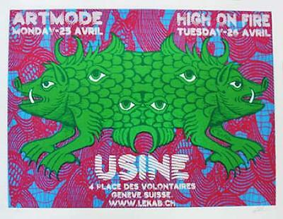High On Fire Swiss Concert Poster Signed Kuhn 2005