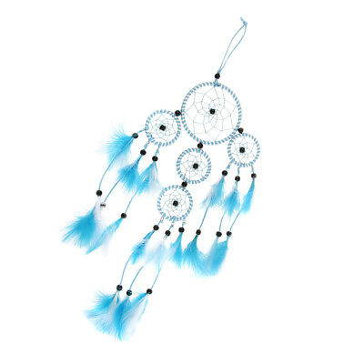 Handmade Blue & White Dream Catcher With Black Beads Wall Car Hanging Gift