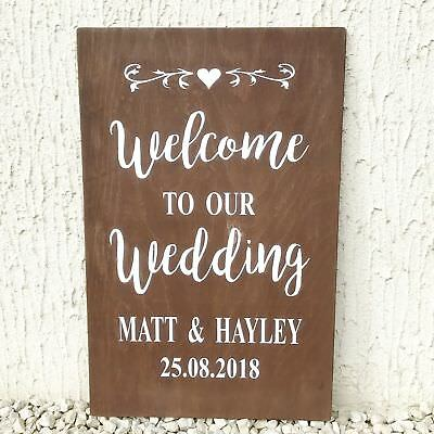 Large Wooden Wedding Welcome Sign Personalised Rustic Brown Easel Sitter