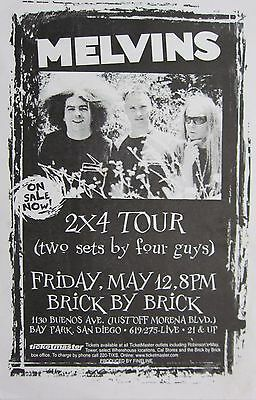 "MELVINS ""2 X 4 TOUR (TWO SETS BY FOUR GUYS) 2000 SAN DIEGO CONCERT POSTER- Metal"
