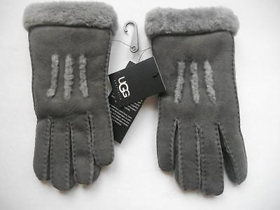 UGG SHEARLING Classic 3 Row Shorty Fur Cuff Driving GLOVE,Large, Grey