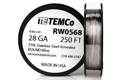TEMCo Stainless Steel Wire SS 316L - 28 Gauge 250 FT Non-Resistance AWG ga