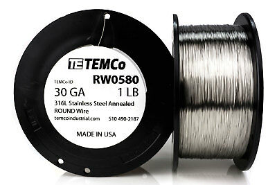 TEMCo Stainless Steel Wire SS 316L - 30 Gauge 1 lb Non-Resistance AWG ga
