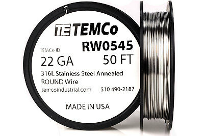 TEMCo Stainless Steel Wire SS 316L - 22 Gauge 50 FT Non-Resistance AWG ga
