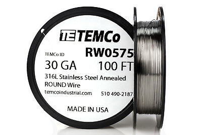 TEMCo Stainless Steel Wire SS 316L - 30 Gauge 100 FT Non-Resistance AWG ga