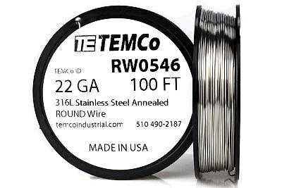 TEMCo Stainless Steel Wire SS 316L - 22 Gauge 100 FT Non-Resistance AWG ga