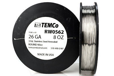 TEMCo Stainless Steel Wire SS 316L - 26 Gauge 8 oz Non-Resistance AWG ga