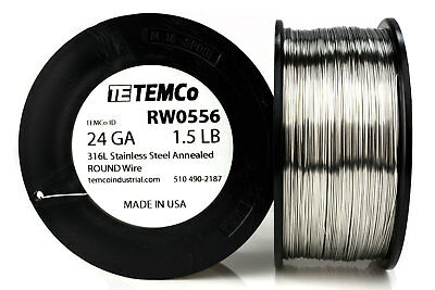 TEMCo Stainless Steel Wire SS 316L - 24 Gauge 1.5 lb Non-Resistance AWG ga