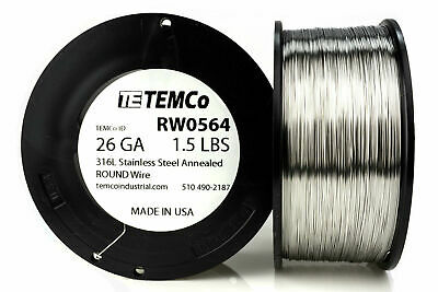 TEMCo Stainless Steel Wire SS 316L - 26 Gauge 1.5 lb Non-Resistance AWG ga