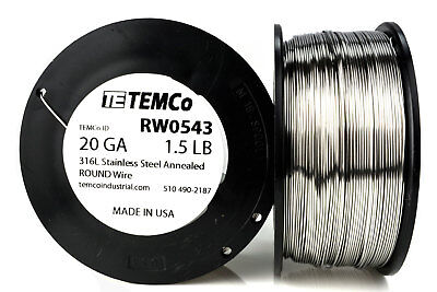 TEMCo Stainless Steel Wire SS 316L - 20 Gauge 1.5 lb Non-Resistance AWG ga