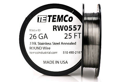 TEMCo Stainless Steel Wire SS 316L - 26 Gauge 25 FT Non-Resistance AWG ga