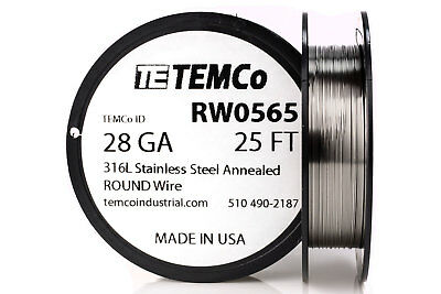 TEMCo Stainless Steel Wire SS 316L - 28 Gauge 25 FT Non-Resistance AWG ga