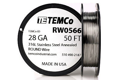 TEMCo Stainless Steel Wire SS 316L - 28 Gauge 50 FT Non-Resistance AWG ga