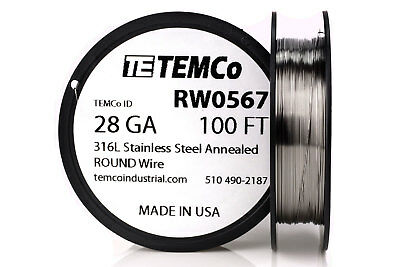 TEMCo Stainless Steel Wire SS 316L - 28 Gauge 100 FT Non-Resistance AWG ga