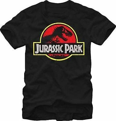 Jurassic Park Classic Logo Dinosaur T-Rex Movie Distressed T Tee Shirt S-2Xl