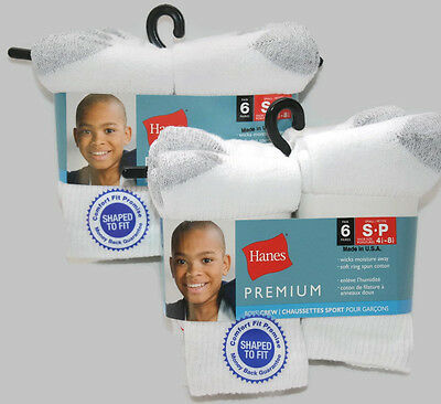 12 Pairs HANES Boys' Cotton Crew Socks Soft NEW Moisture Wicking Small 4.5 -8.5