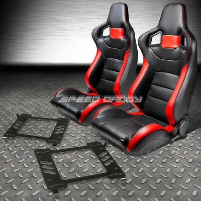 Pvc Leather High-Head Red Racing Seats+Bracket For 05-14 Ford Mustang/gt S-197