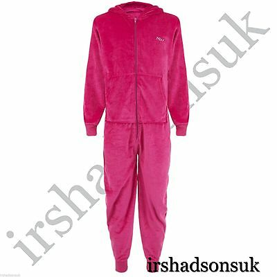 Children Kids Girls Minx Velour Hooded Soft All In One Pj's Jumpsuit New Style