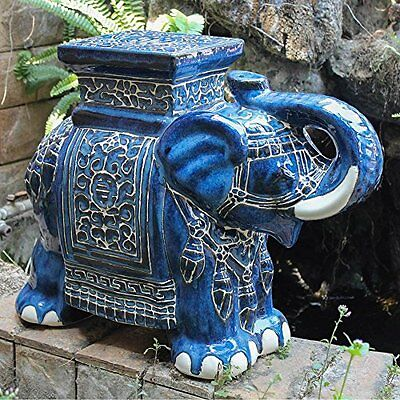 Large Porcelain Elephant Stool Dark Blue