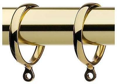 Pack 6 High Quality Solid Brass Metal Curtain Pole Rings - For 35mm Pole