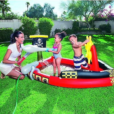 Bestway Pirate Childrens Activity Water Play Centre Paddling Pool Slide Spray