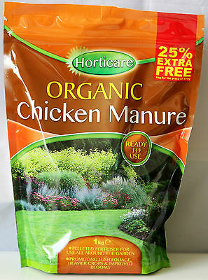 New Organic Chicken Manure Pellets Fertilizer Safe Dry Ready to Use 1kg per Bag