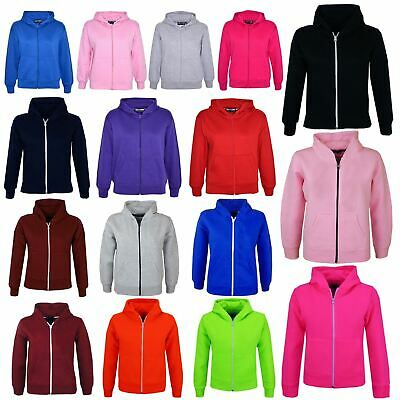 Kids Girls & Boys Unisex Plain Fleece Hoodie Zip Up Style Zipper Age 2-13 Years