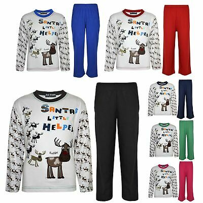 "Kids Girls Boys ""SANTAS LITTLE HELPER"" Christmas Pyjamas Reindeer Rudolph PJ's"