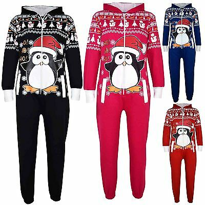 Kids Girls Boys Novelty Christmas Penguin Fleece A2Z Onesie One Piece Jumpsuit